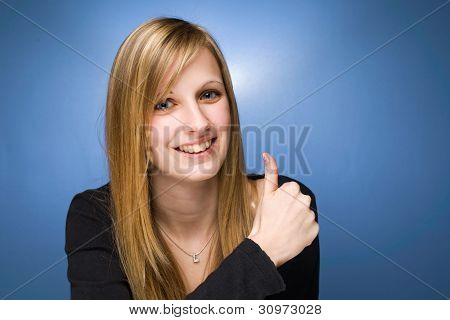 Pretty Young Blond Showing Big Thumbs Up.