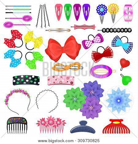 Hair Accessory Vector Kids Hairpin Or Hair-slide And Hair-clip Ponytailer For Girlish Hairstyle Illu