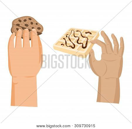 Hands offers sweetness with cake vector arm holding chocolate confectionery sweet confection seduction, no diet. not healthy junk food. Dessert bakery illustration set of hand hold sweets on white poster