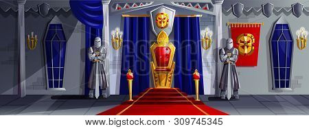 Castle Room Vector Cartoon Illustration. Ballroom Interior In Medieval Palace With Royal Throne, Arm