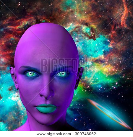 The face of female alien. Colorful universe on a background. 3D rendering