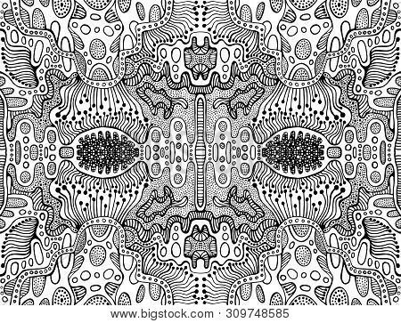Coloring Page Abstract Fractal Pattern, Maze Of Ornaments. Psychedelic Stylish Card. Vector Illustra