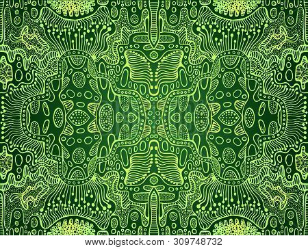 Psychedelic Bright Trippy Colorful Fractal Mandala, Lime, Yellow Gradient Color Outline, On Dark Gre