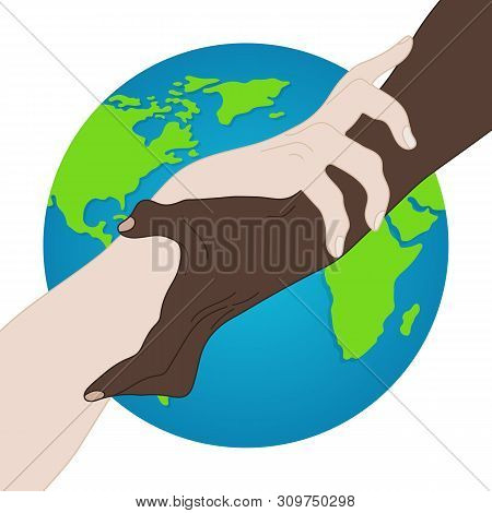 World Racial Equality. Unity, Alliance, Team, Partner Concept. Holding Hands Showing Unity. Relationship Icon. illustration for Your Design, Website poster