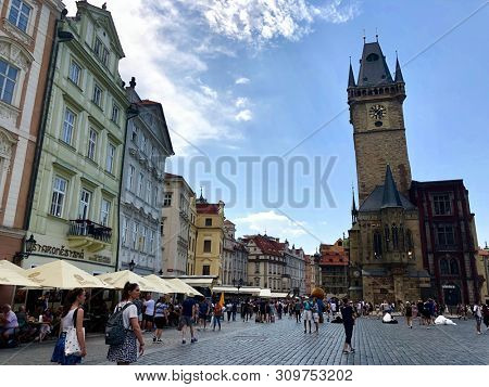 PRAGUE, CZECH REPUBLIC - JULY 1, 2019: The Old Town Hall in the Old Town Square in Prague, Czech Republic.