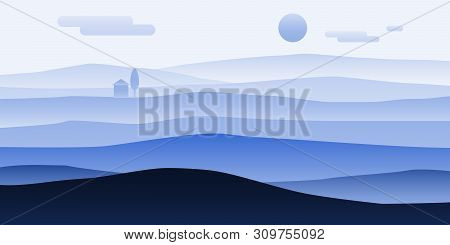Mountain Landscape Minimalistic. Rocks Hills Sand Horizon Space Parallax Panorama. Loneliness Solitu
