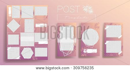Design backgrounds for social media banner.Set of instagram post frame templates.Vector stories cover. Mockup for personal blog or shop. Endless square puzzle layout for promotion.
