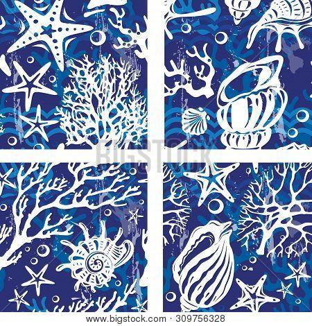 Set Of Seamless Patterns With Decorative Shells Corals Seastars