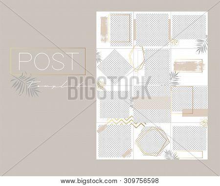 Design backgrounds for social media banner.Set of instagram post frame templates.Vector cover. Mockup for personal blog or shop. Endless square puzzle layout for promotion.