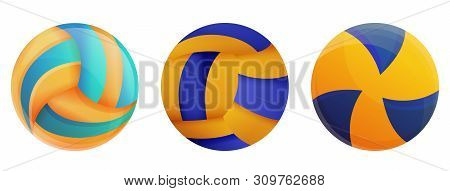 Volleyball Icons Set. Cartoon Set Of Volleyball Vector Icons For Web Design