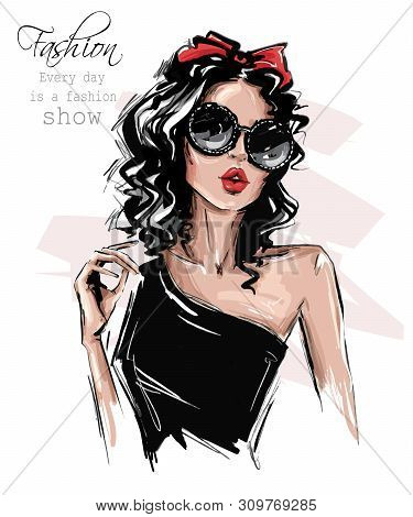 Hand Drawn Beautiful Young Woman In Sunglasses. Stylish Girl With Bow On Her Head. Fashion Woman Loo