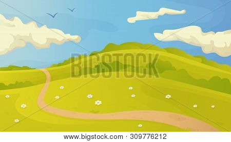 Bright Summer Vector Landscape With  Trail In The Grass And Clouds On Blue Sky, In Flat Cartoon Styl