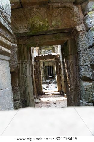 Endless Tilted Stone Doorways In Archaeological Ruins Distorted Perspective Thought Provoking