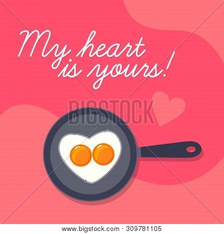 Happy Valentines Day Background, Lovely Scrambled Heart Shape Eggs On Frying Pan