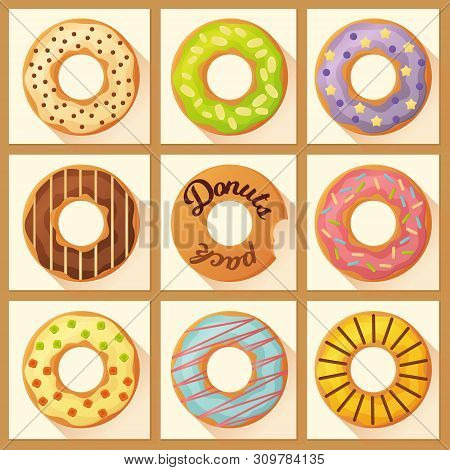 Sweet Colorful  Baked Glazed  Donuts Or Doughnuts Set With Sprinkles And In Flat Style