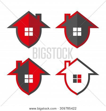 Home Security. Home In Form Shield, Vector Illustrations. Home Protection Logo Design Template. Vect