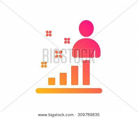 Stats Icon. Business Management Sign. Best Employee Symbol. Classic Flat Style. Gradient Stats Icon.