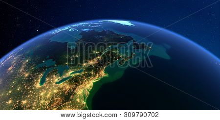 Planet Earth With Detailed Exaggerated Relief At Night Lit By The Lights Of Cities. Northeast Us And