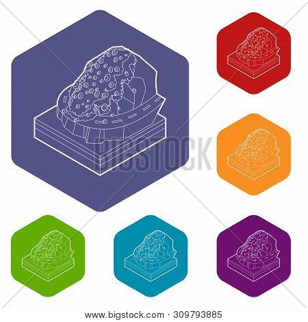 Rockfall Icons Vector Colorful Hexahedron Set Collection Isolated On White