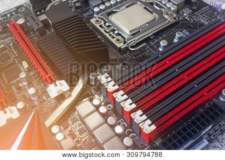 The Pci Express Slot Red Color For Video Graphic Card Vga Card On Computer Motherboard