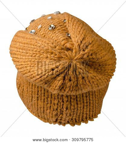 Womens Yellow  Hat Back View . Knitted Hat Isolated On White Background.