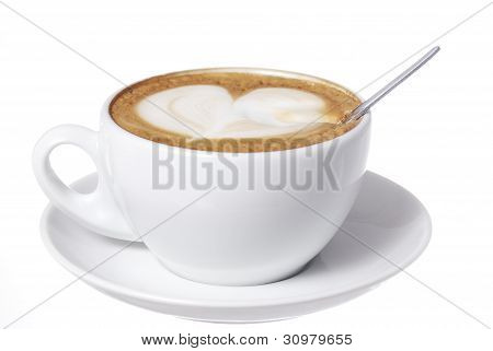 Heart Drawn Into Latte With Spoon.