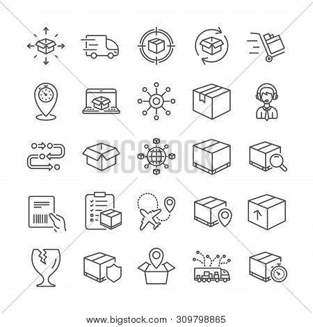 Logistics, Shipping Document Line Icons. Set Of Truck Delivery Box, Checklist Icons. Parcel Tracking