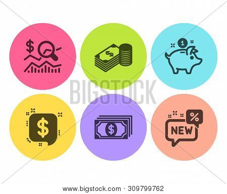Saving Money, Savings And Payment Message Icons Simple Set. Check Investment, Payment And New Signs.