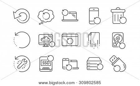 Recovery line icons. Backup, Restore data and recover file. Laptop renew, drive repair and phone recovery icons. Linear set. Vector poster
