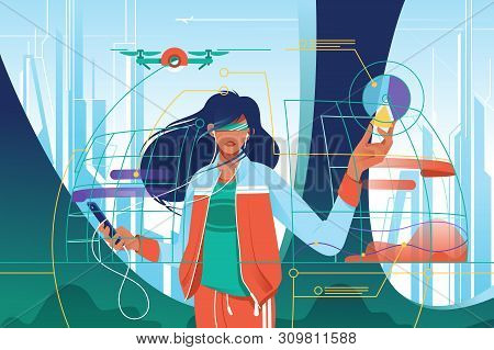 Flat Young Attractive Woman In High Tech World. Concept Girl Character With Mobile Device With Augme
