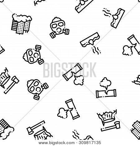 Pollution of Nature Seamless Pattern. Environmental Pollution, Chemical, Radiological Contamination Linear Pictograms. Gas, CO2 Emissions, Dirty Soil, Water, Air Color Contour Illustrations poster