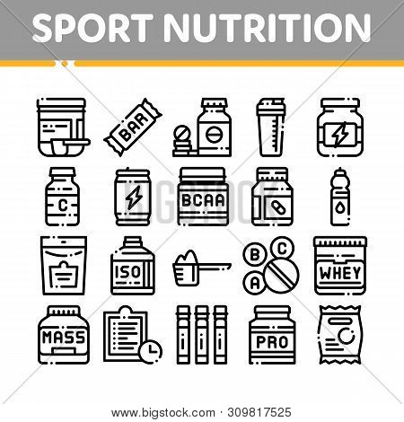 Sport Nutrition Cells Thin Line Icons Set. Sport Nutrition For Sportsmen Linear Pictograms. Dietary
