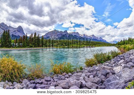 Canmore's Bow River Trail In The Canadian Rockies Of Alberta