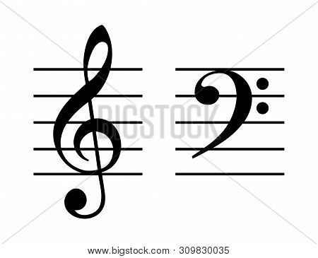 Treble And Bass Clef On Five-line Staff. G-clef Placed On The Second Line And F-clef On Fourth Line