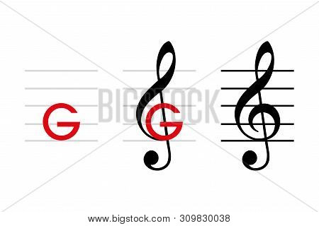 G-clef Development, Note G4, On The Line That Passes Through The Curl Of The Clef. Treble Clef, If P