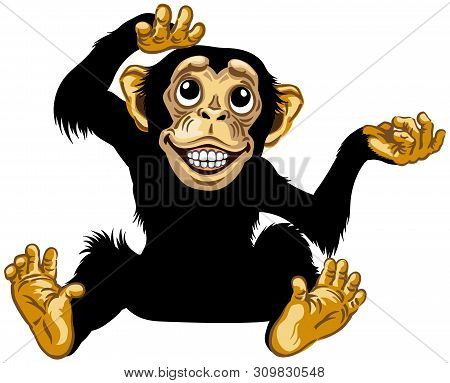 Cartoon Chimp Ape Or Chimpanzee Monkey Smiling Cheerful With A Big Smile On Face Showing Teeth And L