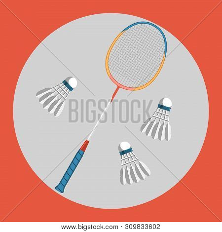 Badminton Racquet Icon. Colorful Badminton Racquet And Three Badminton Shuttlecocks On A Red Backgro