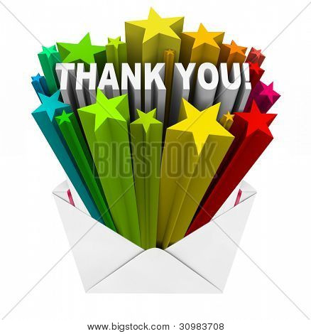 An envelope opening to show a burst of stars and the words Thank You to show appreciation for help given or a job well done