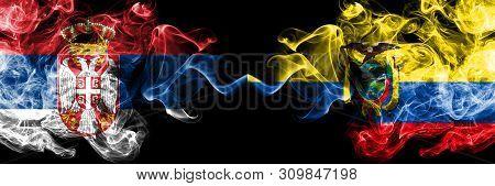 Serbia Vs Ecuador, Ecuadorian Smoky Mystic Flags Placed Side By Side. Thick Colored Silky Smokes Com