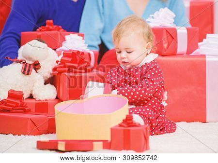Family Love Concept. Couple In Love With Baby Toddler Celebrate Anniversary. Lovely Family Cute Daug