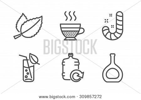 Refill Water, Mint Leaves And Water Glass Icons Simple Set. Cafe Creme, Candy And Cognac Bottle Sign