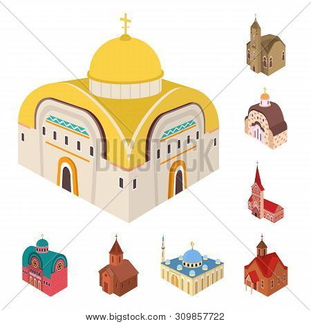 Vector Illustration Of Architecture And Building Icon. Set Of Architecture And Clergy Stock Symbol F