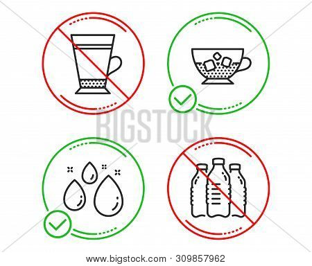 Do Or Stop. Water Drop, Cold Coffee And Latte Icons Simple Set. Water Bottles Sign. Aqua, Ice Cubes
