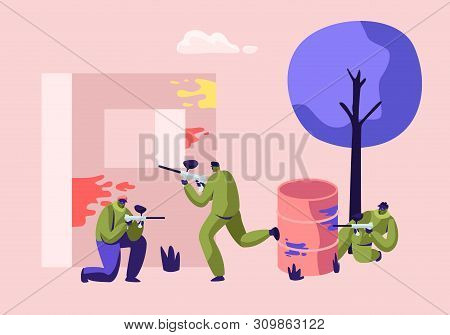 Extreme Paintball Battle. Players in Protective Uniform and Mask Aiming and Shooting with Gun from Embrasure, and Metal Barrel, Adrenaline Sport Tournament, War Fight Cartoon Flat Vector Illustration poster