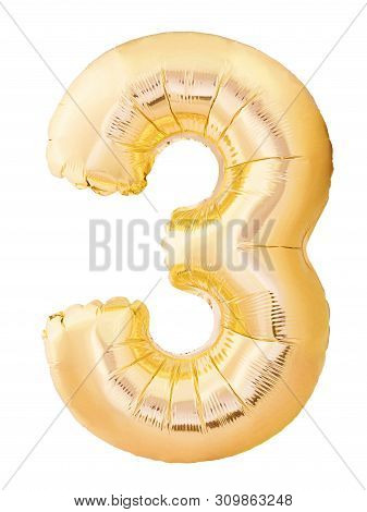 Number 3 Three Made Of Golden Inflatable Balloon Isolated On White Background. Helium Balloon Three