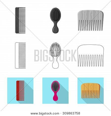 Isolated object of brush and hair logo. Collection of brush and hairbrush stock vector illustration. poster