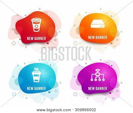 Liquid Badges. Set Of Takeaway, Mini Pc And Takeaway Coffee Icons. Restructuring Sign. Takeout Coffe