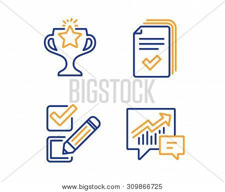 Checkbox, Victory And Handout Icons Simple Set. Accounting Sign. Survey Choice, Championship Prize,