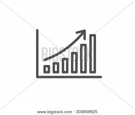 Graph Line Icon. Column Chart Sign. Growth Diagram Symbol. Quality Design Element. Linear Style Grap