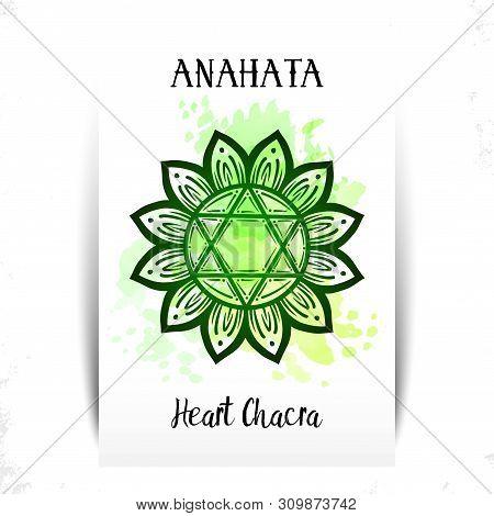 Vector Illustration With Symbol Chakra Anahata On White Background. Circle Mandala Pattern And Hand